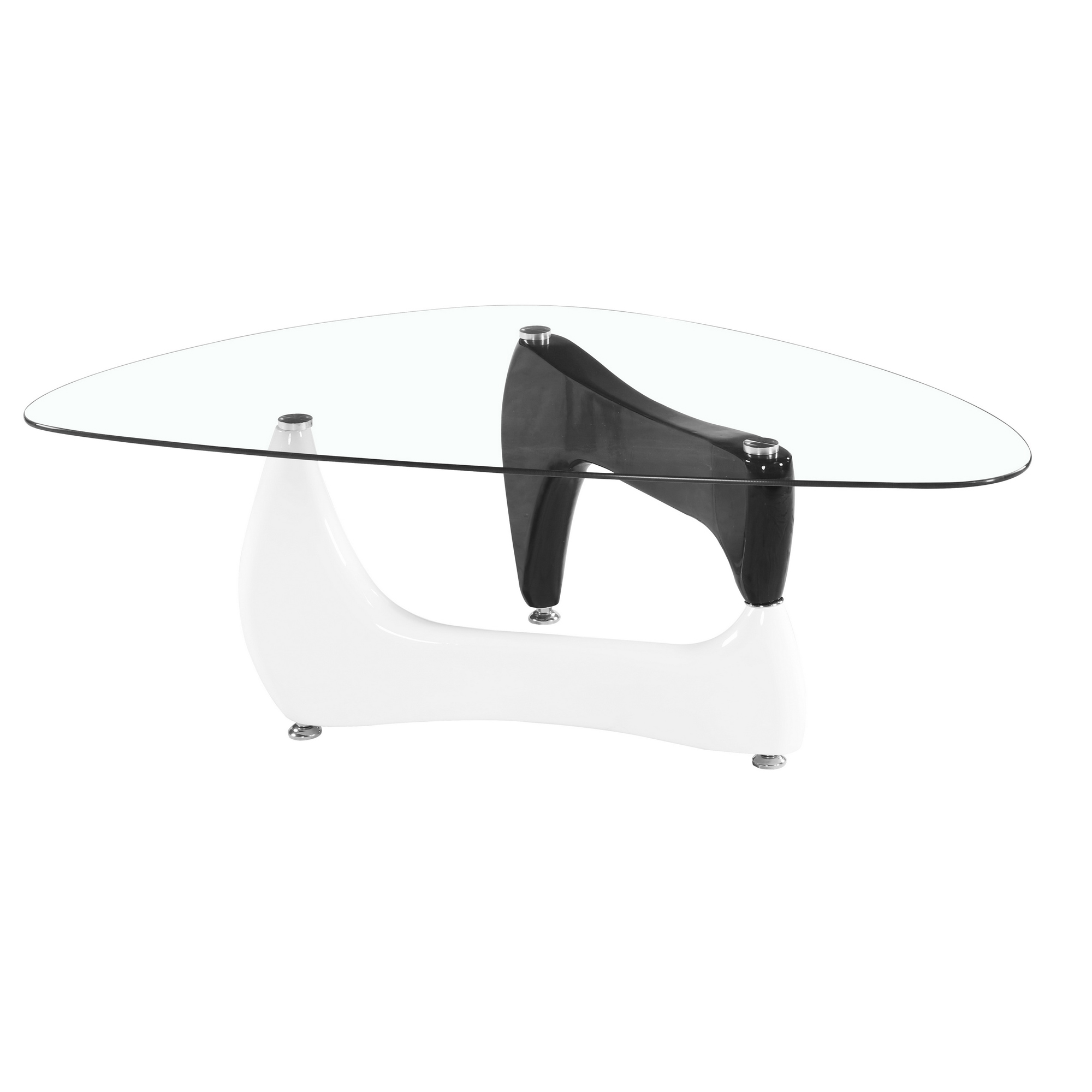 Noguchi Style Glass Coffee Table W Black White Gloss